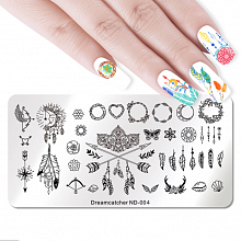 Nicole Diary, Пластина для стемпинга 12*6 см 43510 ND-004 Dreamcatcher, 1 шт