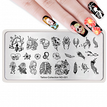 ND-001 NICOLE DIARY Пластина для стемпинга 12-6 см (43495) Tattoo collection